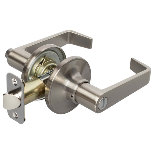 Image Of Largo Bed / Bath / Privacy Door Lever Set - Satin Nickel Finish - Harney Hardware