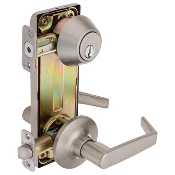 Image Of Largo Interconnected Lock -  Reversible Passage Lever -  UL Fire Rated -  ANSI 2 - Satin Nickel Finish - Harney Hardware