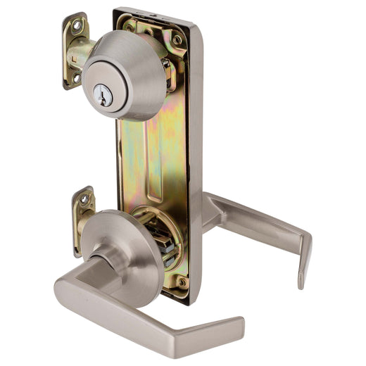 Image Of Interconnected Lock -  Passage Lever -  UL Fire Rated -  ANSI 2 - Satin Nickel Finish - Harney Hardware