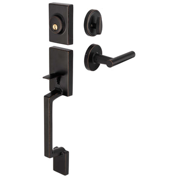 Image Of Riley Handleset With Interior Reversible Lever - Venetian Bronze Finish - Harney Hardware