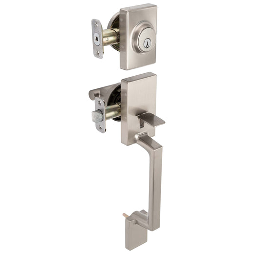 Image Of Riley Handleset With Interior Reversible Lever - Satin Nickel Finish - Harney Hardware