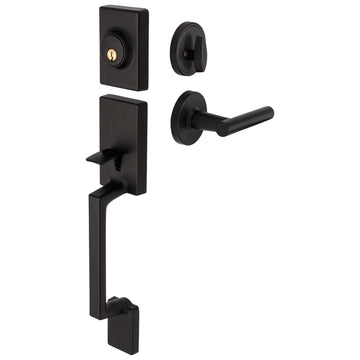 Image Of Riley Handleset With Interior Reversible Lever - Matte Black Finish - Harney Hardware