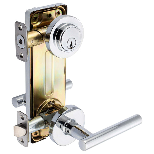 Image Of Riley Interconnected Lock -  Reversible Passage Lever -  UL Fire Rated -  ANSI 2 - Chrome Finish - Harney Hardware