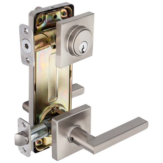 Image Of Harper Interconnected Lock -  Reversible Passage Lever -  UL Fire Rated -  ANSI 2 - Satin Nickel Finish - Harney Hardware