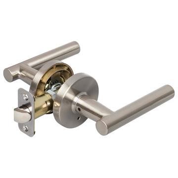 Image Of Riley Bed / Bath / Privacy Contemporary Door Lever Set - Satin Nickel Finish - Harney Hardware