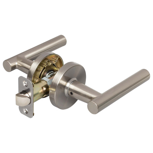 Image Of Riley Closet / Hall / Passage Contemporary Door Lever Set - Satin Nickel Finish - Harney Hardware