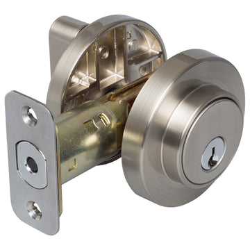 Image Of Keyed Single Cylinder Contemporary Deadbolt W/ Round Escutcheon - Satin Nickel Finish - Harney Hardware