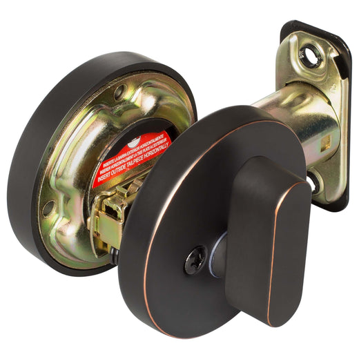 Image Of Keyed Single Cylinder Contemporary Deadbolt -  Round Escutcheon - Venetian Bronze Finish - Harney Hardware