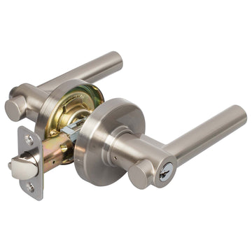 Image Of Riley Keyed / Entry Contemporary Door Lever Set - Satin Nickel Finish - Harney Hardware
