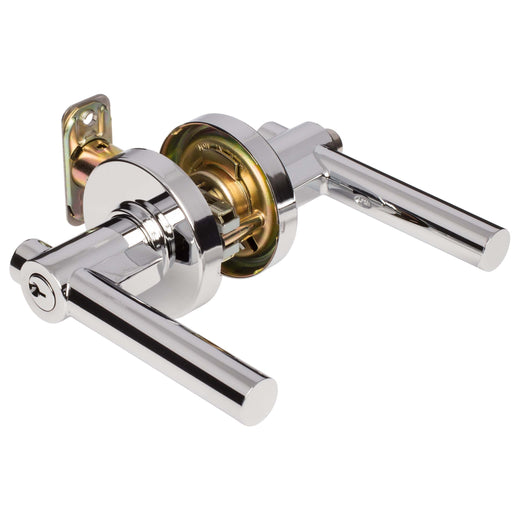 Image Of Riley Keyed / Entry Contemporary Door Lever Set - Chrome Finish - Harney Hardware