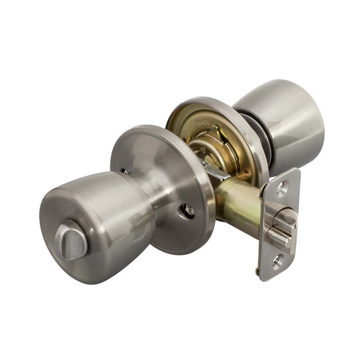 Image Of Emerson Keyed / Entry Door Knob Set - Satin Nickel Finish - Harney Hardware