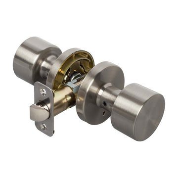 Image Of Brooklyn Bed / Bath / Privacy Contemporary Door Knob Set - Satin Nickel Finish - Harney Hardware