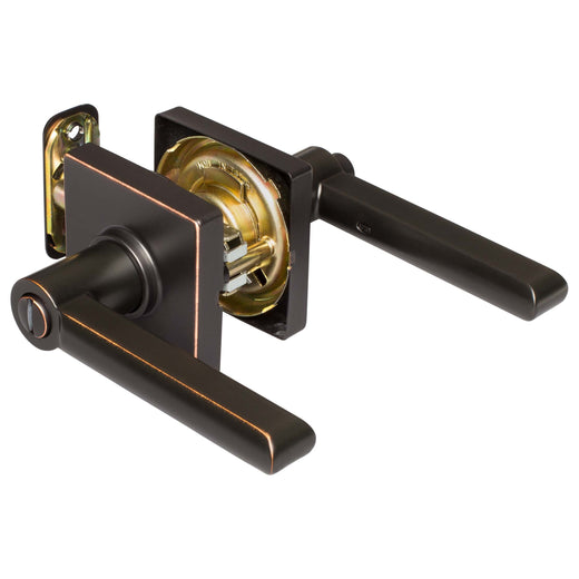 Image Of Harper Bed / Bath / Privacy Contemporary Door Lever Set - Venetian Bronze Finish - Harney Hardware