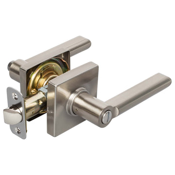 Image Of Harper Bed / Bath / Privacy Contemporary Door Lever Set - Satin Nickel Finish - Harney Hardware