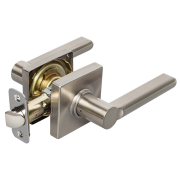 Image Of Harper Closet / Hall / Passage Contemporary Door Lever Set - Satin Nickel Finish - Harney Hardware
