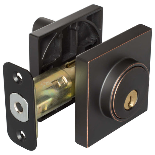 Image Of Keyed Single Cylinder Contemporary Deadbolt W/ Square Escutcheon - Venetian Bronze Finish - Harney Hardware