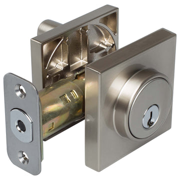 Image Of Keyed Single Cylinder Contemporary Deadbolt W/ Square Escutcheon - Satin Nickel Finish - Harney Hardware