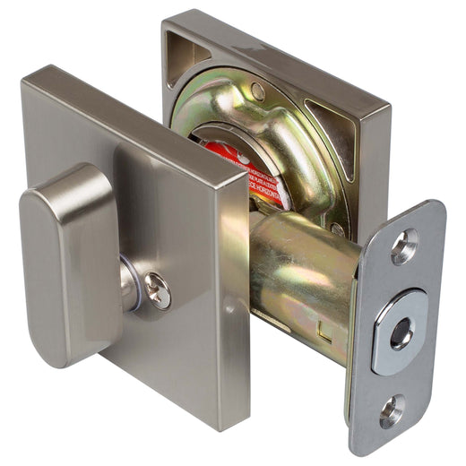 Image Of Keyed Single Cylinder Contemporary Deadbolt -  Square Escutcheon - Satin Nickel Finish - Harney Hardware