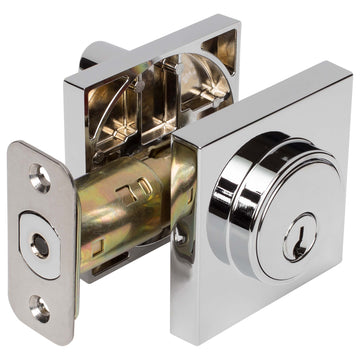 Image Of Keyed Single Cylinder Contemporary Deadbolt W/ Square Escutcheon - Chrome Finish - Harney Hardware