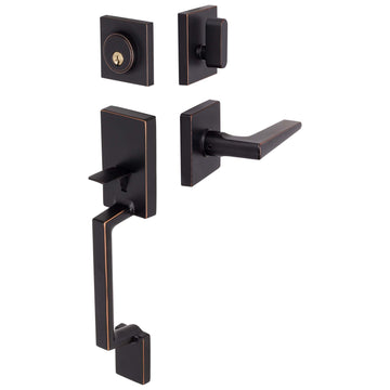 Image Of Harper Handleset With Interior Reversible Lever - Venetian Bronze Finish - Harney Hardware