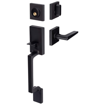 Image Of Harper Handleset With Interior Reversible Lever - Matte Black Finish - Harney Hardware