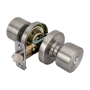 Image Of Brooklyn Keyed / Entry Contemporary Door Knob Set - Satin Nickel Finish - Harney Hardware