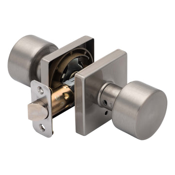Image Of Oaklyn Bed / Bath / Privacy Contemporary Door Knob Set - Satin Nickel Finish - Harney Hardware