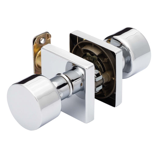 Image Of Oaklyn Closet / Hall / Passage Contemporary Door Knob Set - Chrome Finish - Harney Hardware