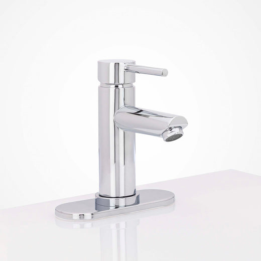 Image Of Bathroom Faucet Installation Deckplate -  Radius Ends -  Stainless Steel -  6 1/4 In. Wide - Polished Stainless Steel Finish - Harney Hardware