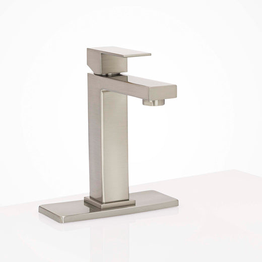 Image Of Bathroom Faucet Installation Deckplate -  Square Ends -  Stainless Steel -  6 1/8 In. Wide - Satin Stainless Steel Finish - Harney Hardware