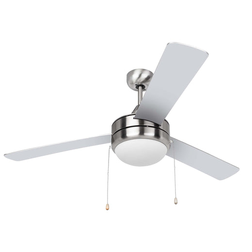 Image Of Contemporary / Modern Ceiling Fan With LED Light Kit -  52 In. Dia. -  3 Blades -  Silver / Dark Walnut - Satin Nickel Finish - Harney Hardware