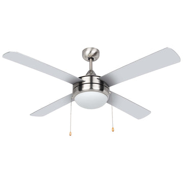 Image Of Contemporary / Modern Ceiling Fan With LED Light Kit -  52 In. Dia. -  4 Blades -  Silver / Dark Walnut - Satin Nickel Finish - Harney Hardware