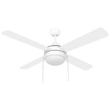 Image Of Contemporary / Modern Ceiling Fan With LED Light Kit -  52 In. Dia. -  4 Blades -  White / Light Oak - White Finish - Harney Hardware