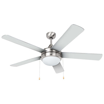 Image Of Contemporary / Modern Ceiling Fan With LED Light Kit -  52 In. Dia. -  5 Blades -  Silver / Dark Walnut - Satin Nickel Finish - Harney Hardware