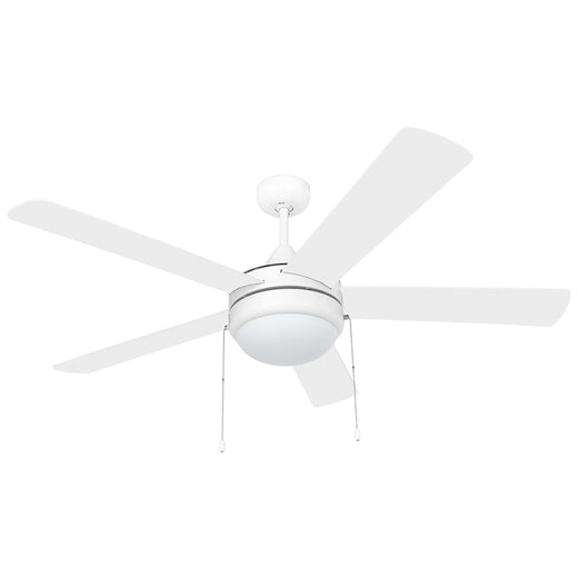 Image Of Contemporary / Modern Ceiling Fan With LED Light Kit -  52 In. Dia. -  5 Blades -  White / Light Oak - White Finish - Harney Hardware