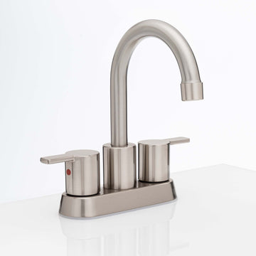 Image Of Center Set Contemporary / Modern Bathroom Sink Faucet -  4 In. Wide -  Boca Grande - Satin Nickel Finish - Harney Hardware