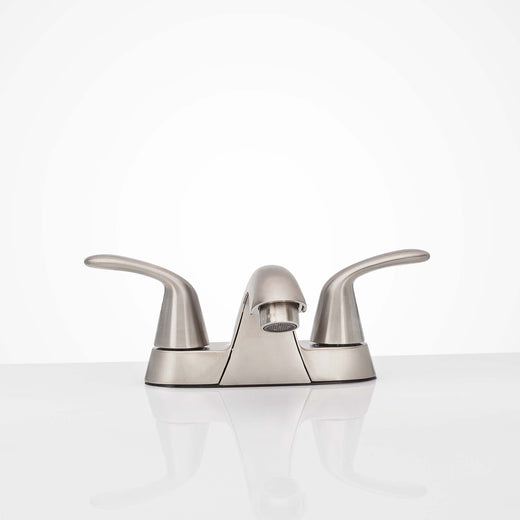 Image Of Center Set Bathroom Sink Faucet -  4 In. Wide - Satin Nickel Finish - Harney Hardware