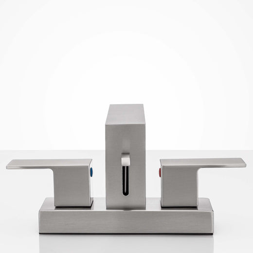 Image Of Center Set Contemporary / Modern Bathroom Sink Faucet -  4 In. Wide - Satin Nickel Finish - Harney Hardware