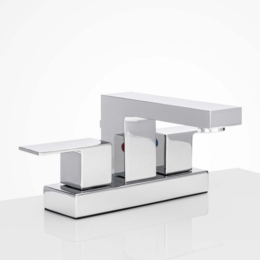 Image Of Center Set Contemporary / Modern Bathroom Sink Faucet -  4 In. Wide - Chrome Finish - Harney Hardware