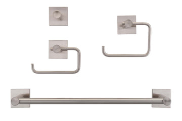 Image Of Daytona Satin Nickel Bathroom Hardware Set - Satin Nickel Finish - Harney Hardware
