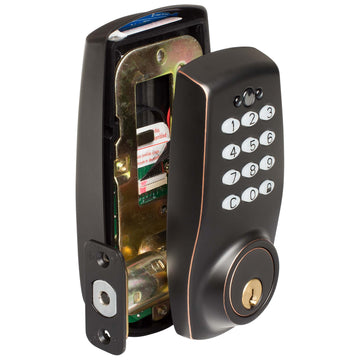 Image Of Electronic Keyless Deadbolt - Venetian Bronze Finish - Harney Hardware