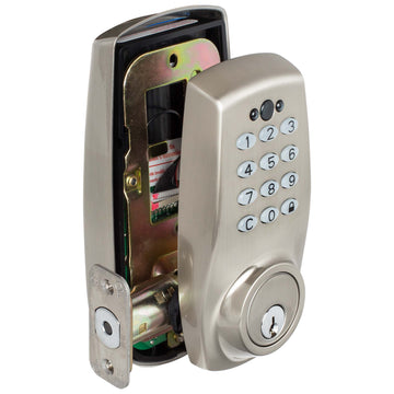 Image Of Electronic Push Button Door Lock - Satin Nickel Finish - Harney Hardware
