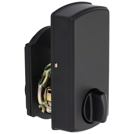 Image Of Electronic Keyless Deadbolt -  Arch Top Escutcheon - Matte Black Finish - Harney Hardware