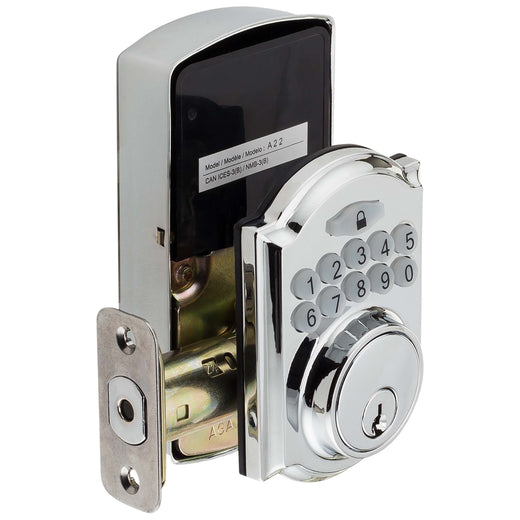 Image Of Electronic Keyless Deadbolt -  Arch Top Escutcheon - Chrome Finish - Harney Hardware