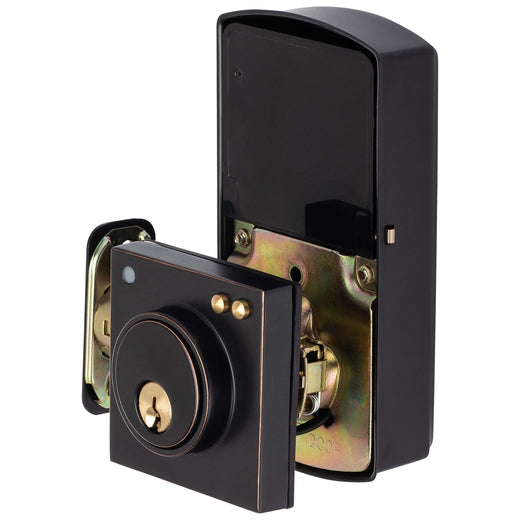 Image Of Bluetooth Electronic Keyless Deadbolt -  Square Escutcheon - Venetian Bronze Finish - Harney Hardware