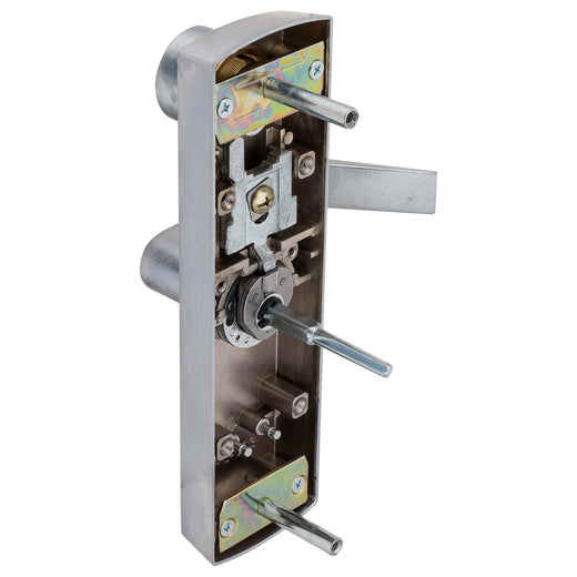 Image Of Panic Exit Device Storeroom / Keyed Function Escutcheon Lever Trim - Satin Chrome Finish - Harney Hardware
