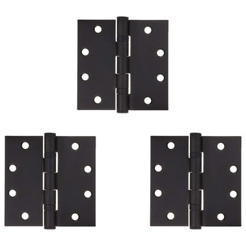 Image Of Commercial Door Hinges -  Ball Bearing -  4 1/2 In. X 4 1/2 In. -  3 Pack - Oil Rubbed Bronze Finish - Harney Hardware