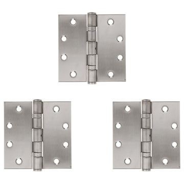 Image Of Commercial Door Hinges -  Ball Bearing -  NRP -  4 1/2 In. X 4 1/2 In. -  3 Pack - Satin Stainless Steel Finish - Harney Hardware