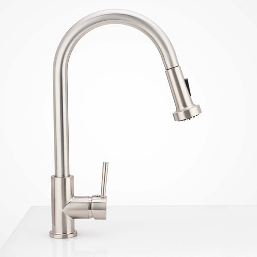 Image Of Kitchen Sink Faucet Contemporary / Modern -  Pull Down Spray -  16 1/2 In -  High - Satin Nickel Finish - Harney Hardware