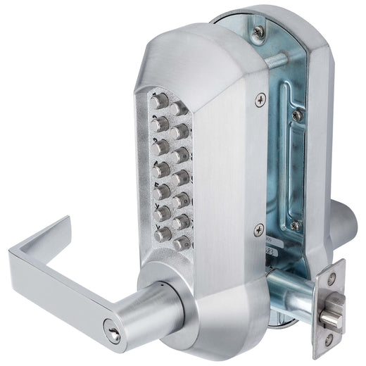 Image Of Mechanical Keyless Double Sided Door Lever Set - Satin Chrome Finish - Harney Hardware
